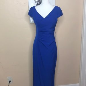 NWT JS Collections v-neck crepe long evening gown